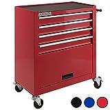 Arebos Werkstattwagen 4 Fächer + großes Fach/mit Antirutschmatten / 2 Rollen mit Festellbremse (Rot)