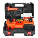 E-HEELP Elektrischer Wagenheber 5T 12V Hebebereich 15-45.5cm Elektrische Hydraulischer Wagenheber mit Reifenfüller für SUV Reifenwechsel