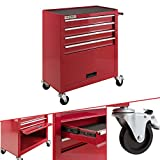 Arebos Werkstattwagen 4 Fächer + großes Fach/mit Antirutschmatten / 2 Rollen mit Feststellbremse (Rot)