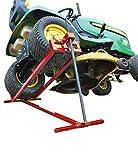 Rasenmäherheber | Setzen Sie sich auf Rasenmäher Jack | Teleskop Garten Rasenmäher Lifter | Hebevorrichtung 400KG für Mäher-Traktor | Rote Farbe | Teleskopversion für 30% Speichereinsparung
