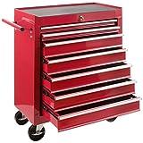 Arebos Werkstattwagen 7 Fächer   zentral abschließbar   inkl. Antirutschmatten   kugelgelagerte Schubladen   2 Rollen mit Feststellbremse (rot)